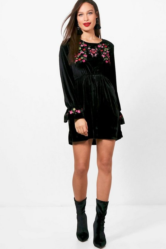 Tall Nadia Embroidered Velvet Smock Dress