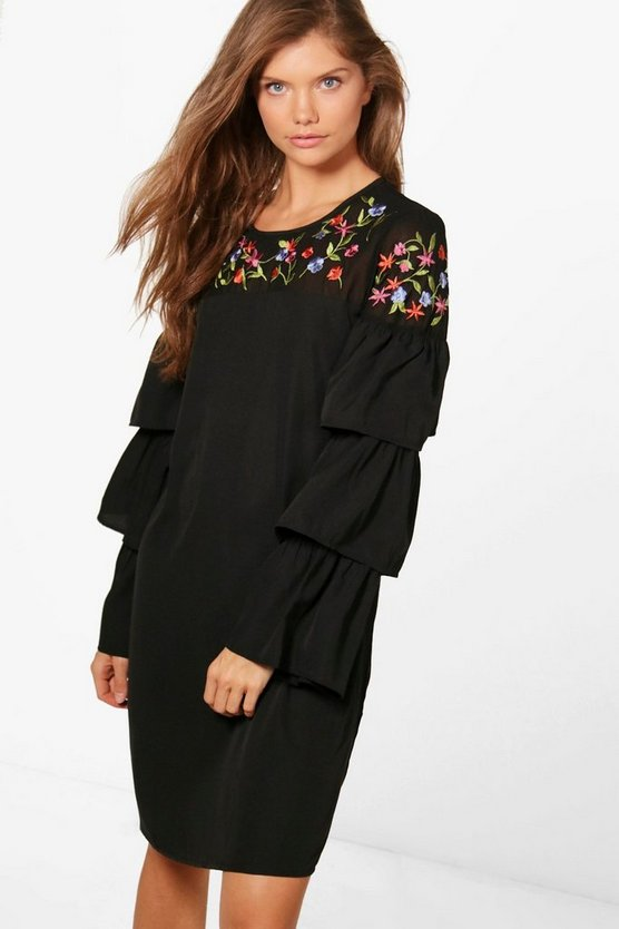 Tall Mia Embroidered Frill Sleeve Shift Dress