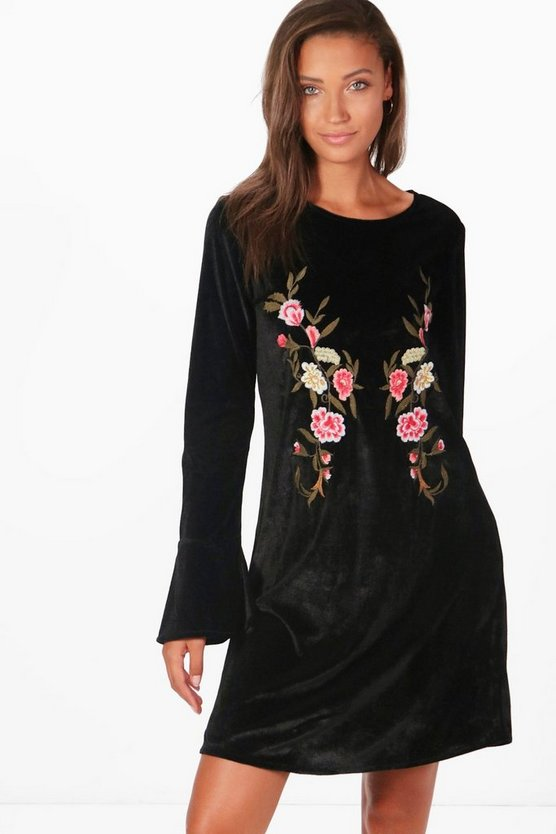 Tall Embroidered Velvet Dress