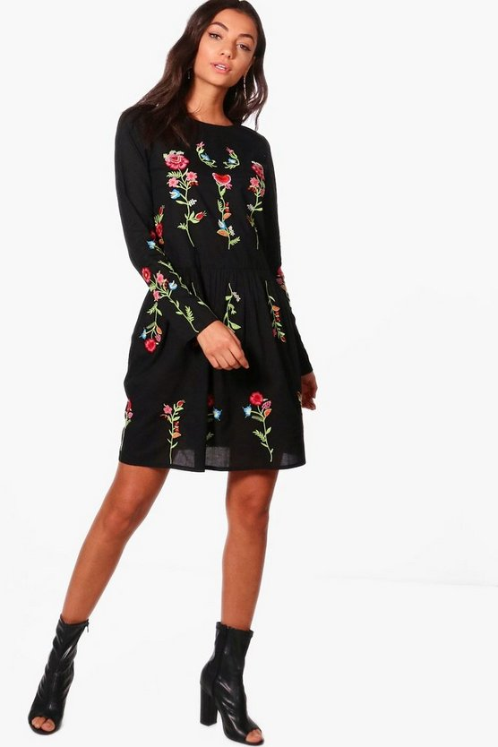Tall Nadia Embroidered Smock Dress
