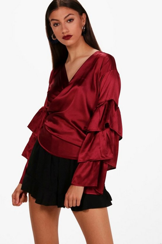 Tall Eliza Satin Tiered Sleeve Wrap Shirt