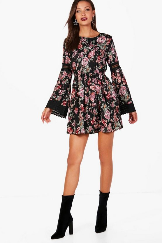 Tall Lace Insert Woven Floral Skater Dress