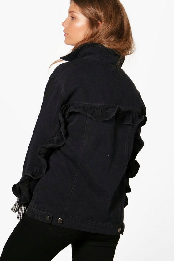 Tall Sara Ruffle Back & Sleeve Denim Jacket