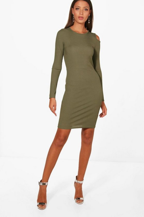 Tall Amy Cold Shoulder Ribbed Bodycon Dress