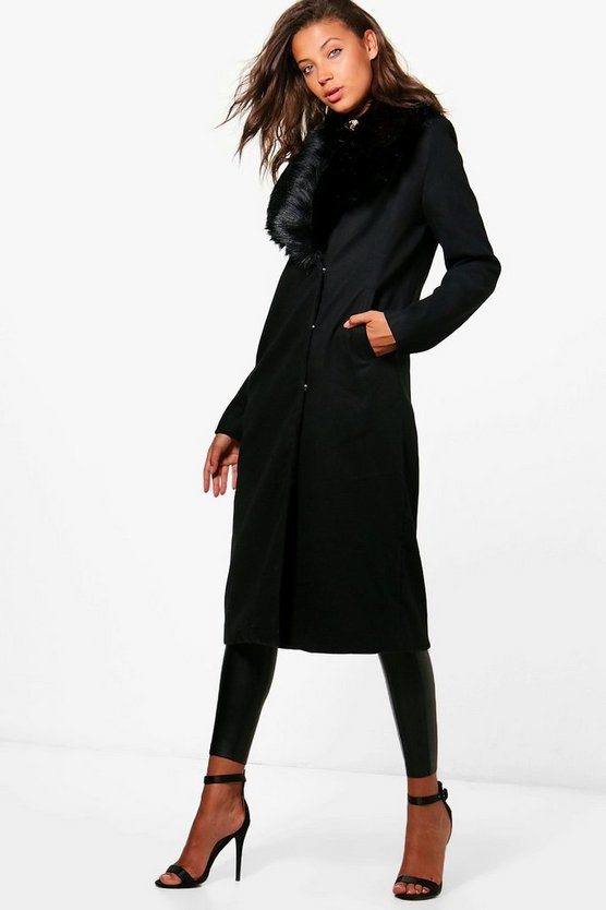 Tall Jess Faux Fur Trim Wool Look Coat