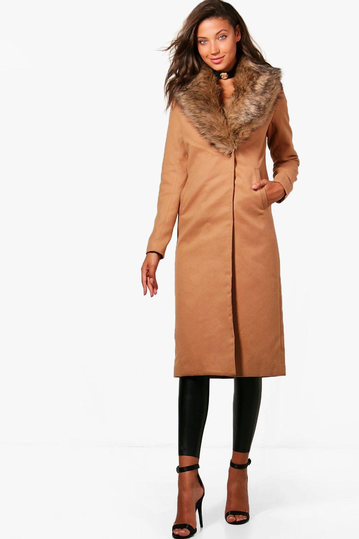 Jess Fur Trim Wool Look Coat - camel