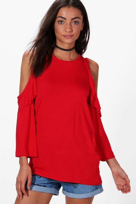 Tall Esme Cold Shoulder Ruffle Front Top