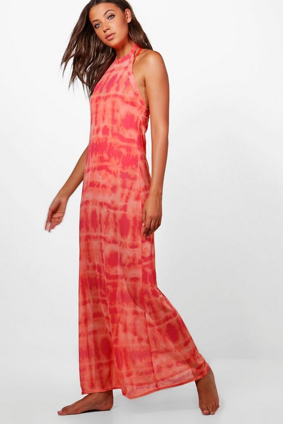 Tall Paige Mesh Printed Beach Maxi Dress