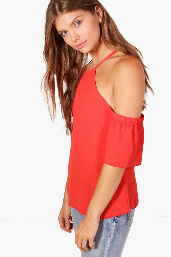 Tall Fiona Woven Cold Shoulder Blouse