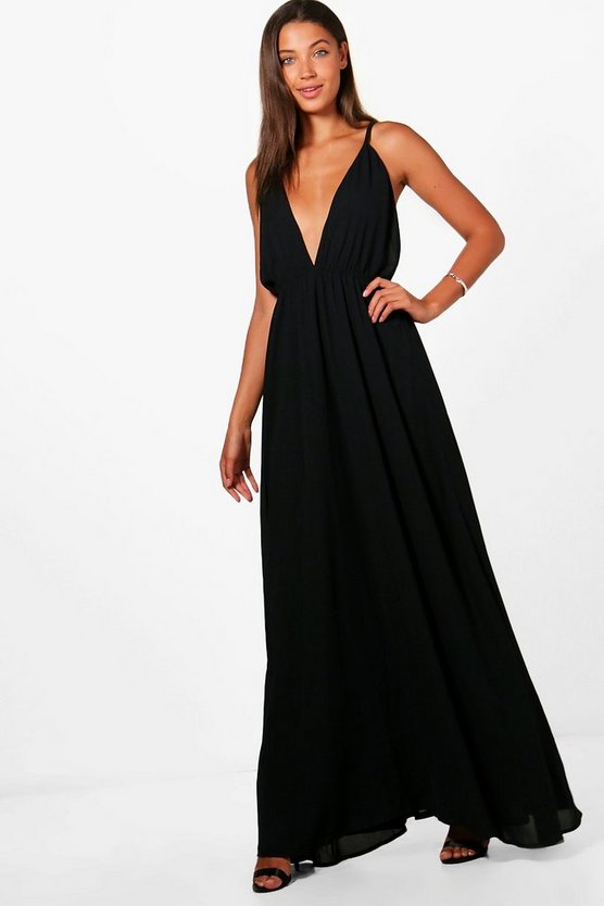 Tall Emily Plunge Strappy Woven Maxi Dress