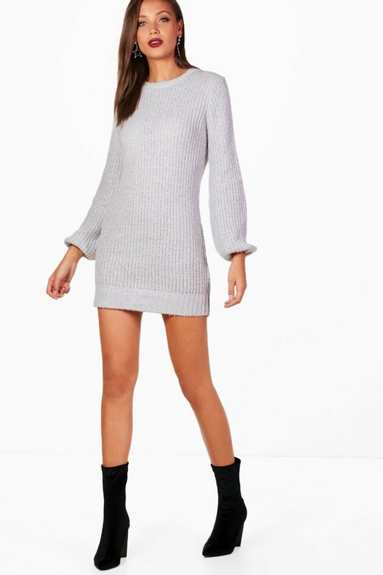 Tall Bubble Sleeve Knitted Dress