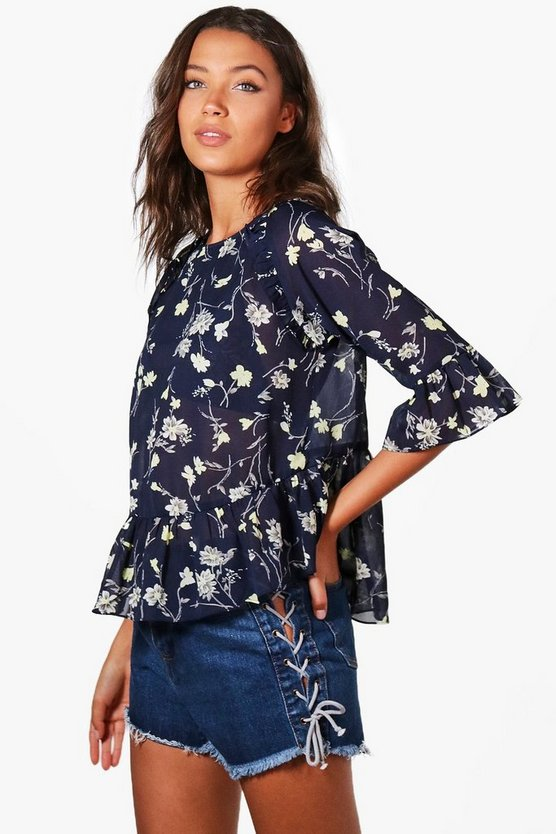 Tall Bethany Floral Lace Up Ruffle Woven Blouse