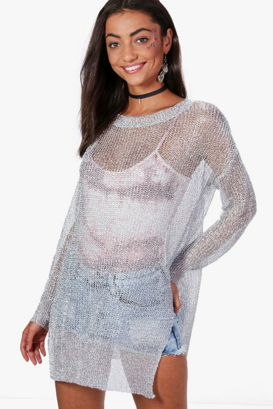 Tall Eleanor Round Neck Metallic Jumper