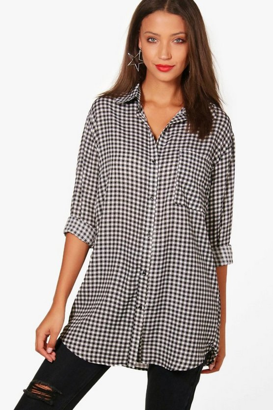 Tall Esme Oversized Gingham Shirt