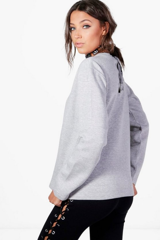Tall Bethany Lace Up Back Sweat