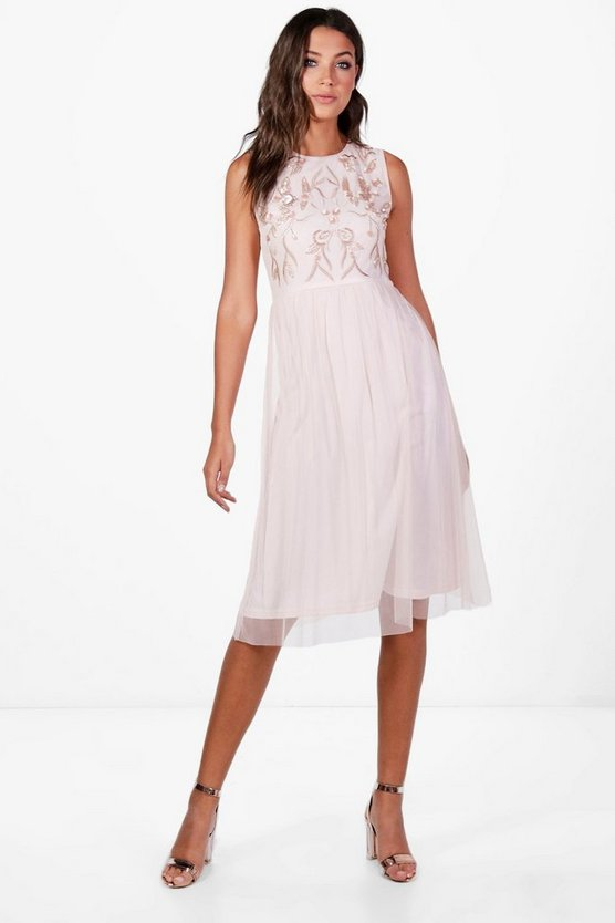 Tall Layla Embroidered & Beaded Midi Dress