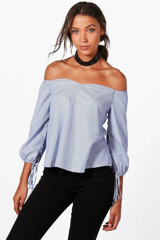 Tall Eliza Off The Shoulder Tie Sleeve Blouse