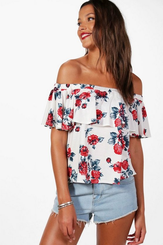Tall Olivia Rose Print Off The Shoulder Frill Crop