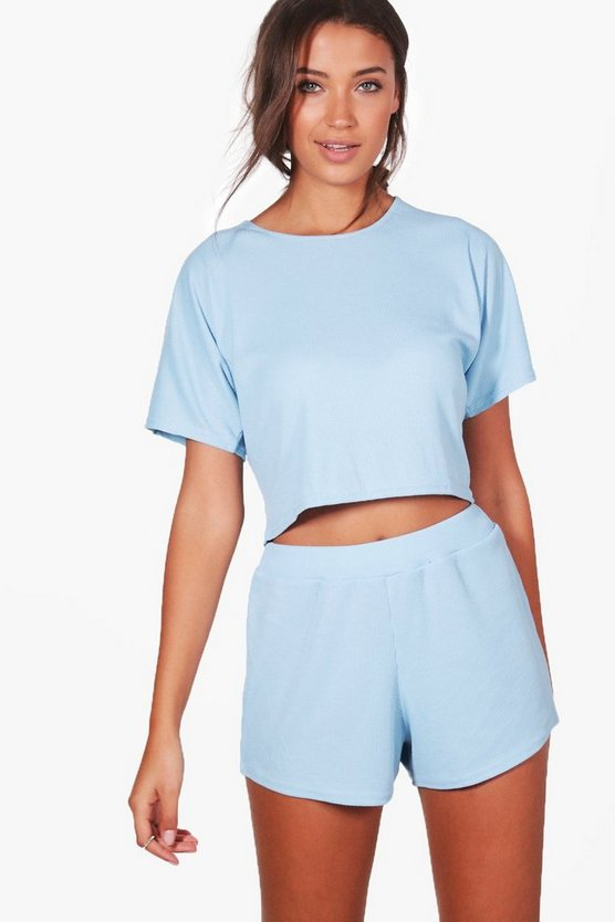 Tall Amiee Rib Shorts & Tee Lounge Set