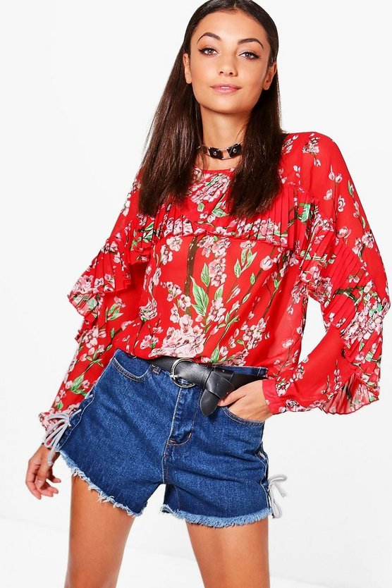 Tall Nadine Frill Front Floral Blouse