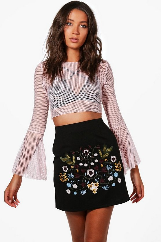 Tall Yasmin Embroidered Mini Skirt