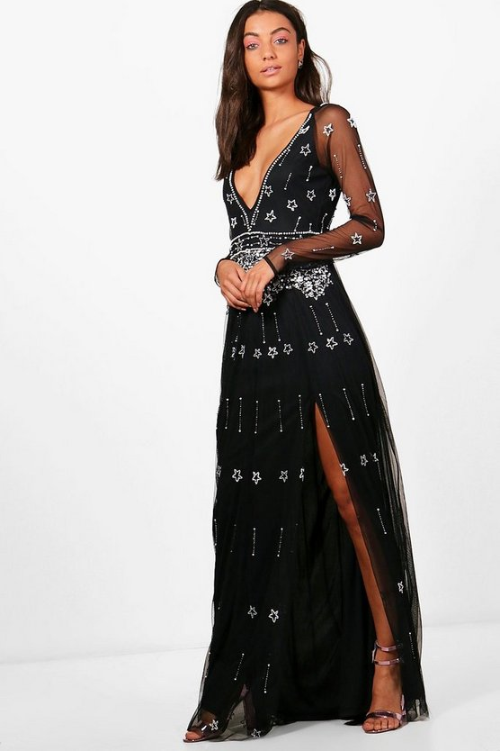 Tall Tania Boutique Plunge Star Beaded Maxi Dress