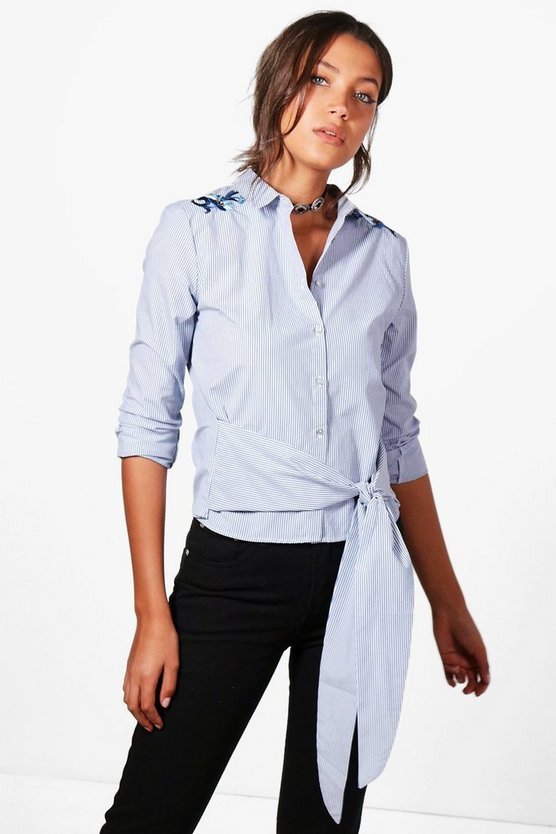 Tall Emily Embroidered Woven Shirt
