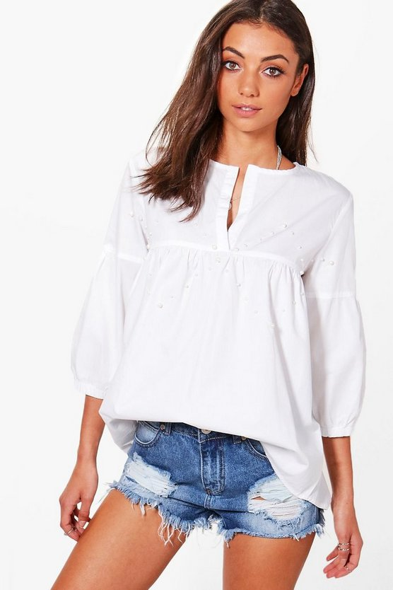 Tall Daisy Embellished Woven Shirt