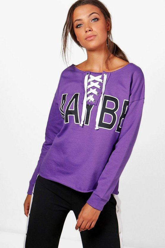 Tall Olivia Lace Up Slogan Sweat