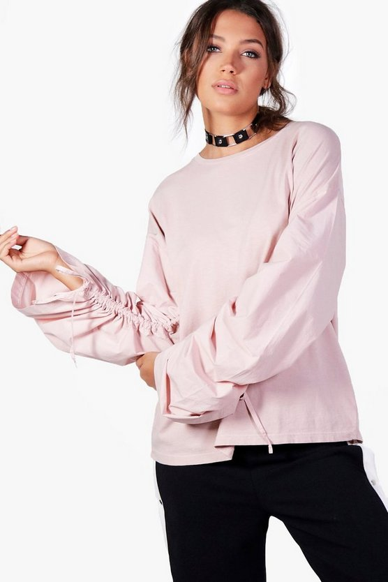 Tall Milly Ruched Sleeve Oversized Top
