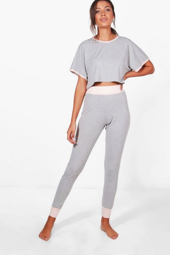 Tall Anna Crop And Contrast Legging Lounge Set
