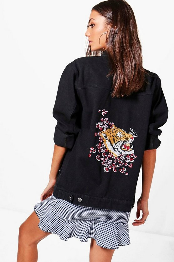 Tall Jane Denim Tiger Embroidered Jacket