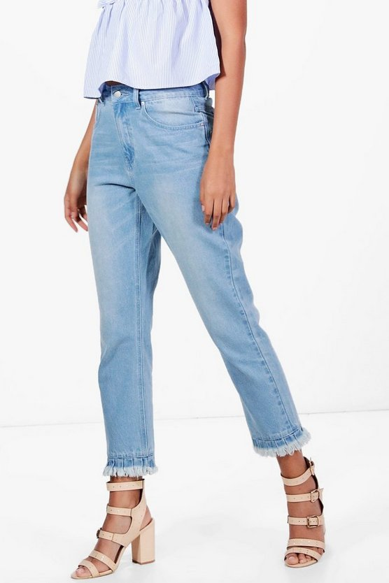 Tall Bethany Gathered Distressed Hem Jeans