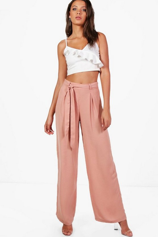 Tall Lorna Woven Front Tie Detail Wide Leg Trouser
