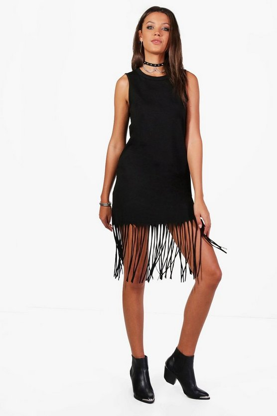 Tall Clare Fringe Hem Dress
