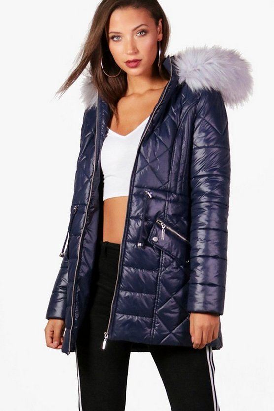 Tall Hailey Quilted Hooded Coat