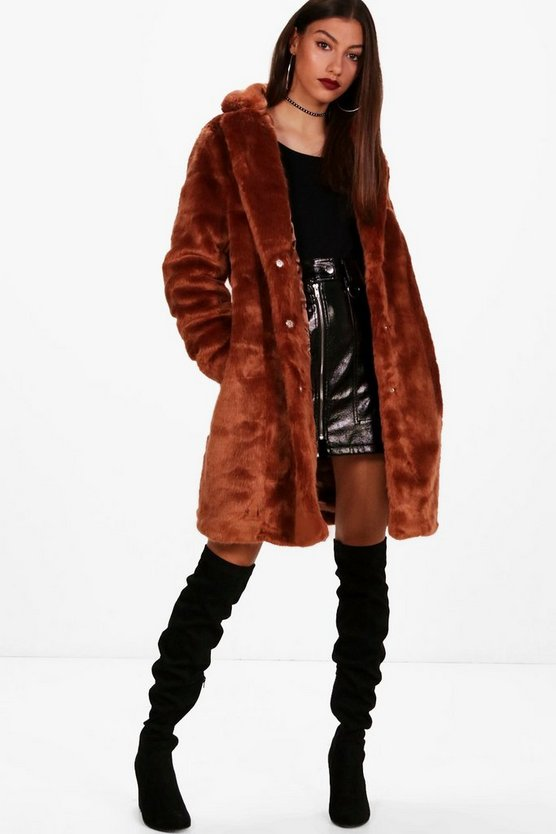Tall Annabel Rever Collar Faux Fur Coat