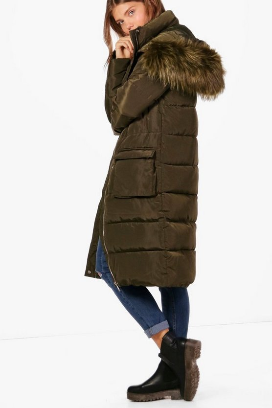 Tall Ava Fur Trim Quilted Parka