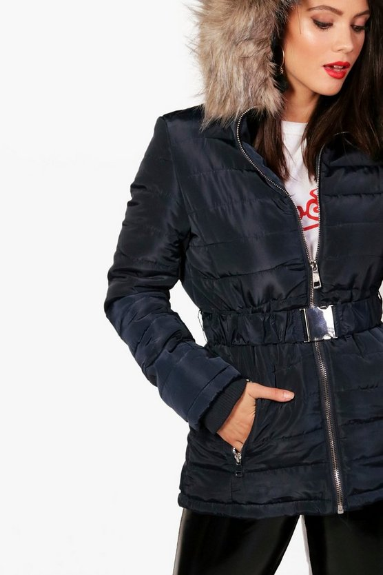 Tall Alice Quilted Belt Faux Fur Trim Jacket