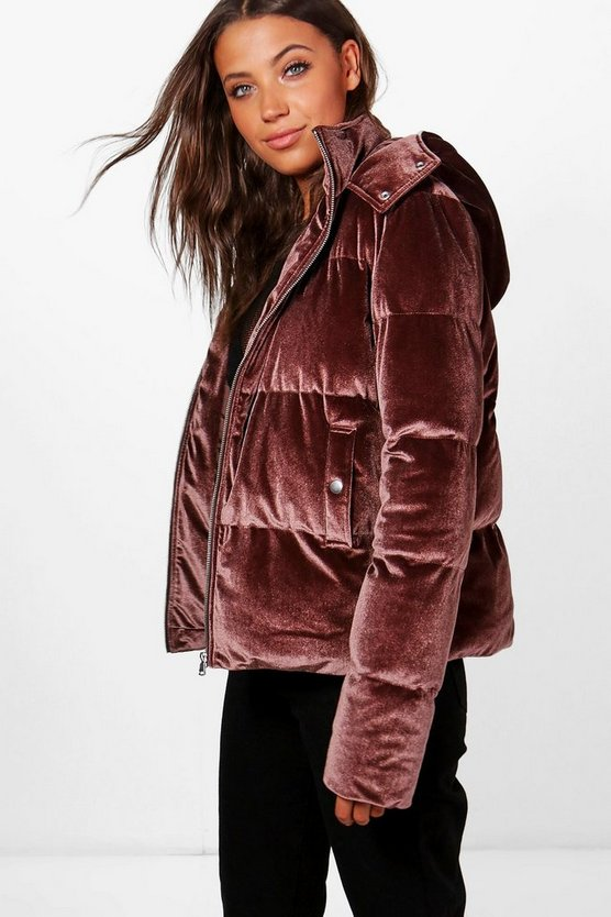 Tall Velvet Padded Bomber Jacket