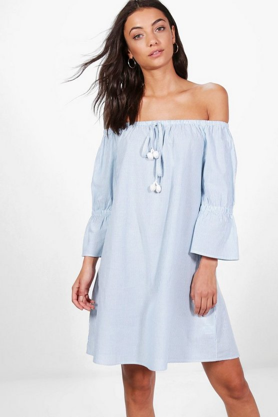 Tall Charlotte Off The Shoulder Stripe Dress