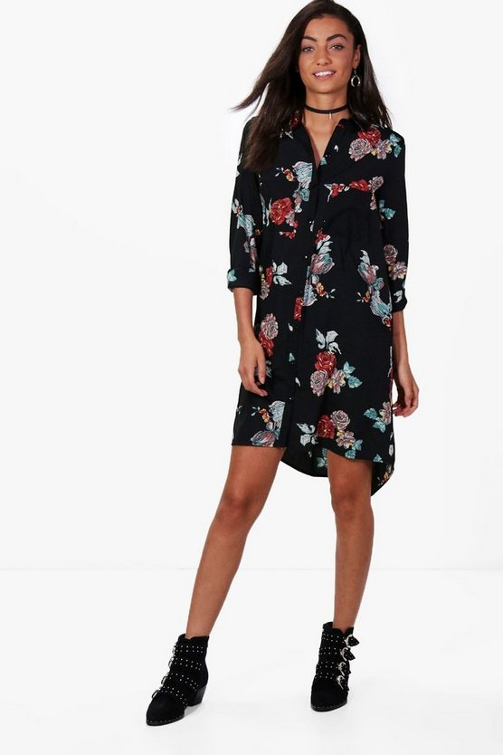 Tall Grace Dark Floral Shirt Dress