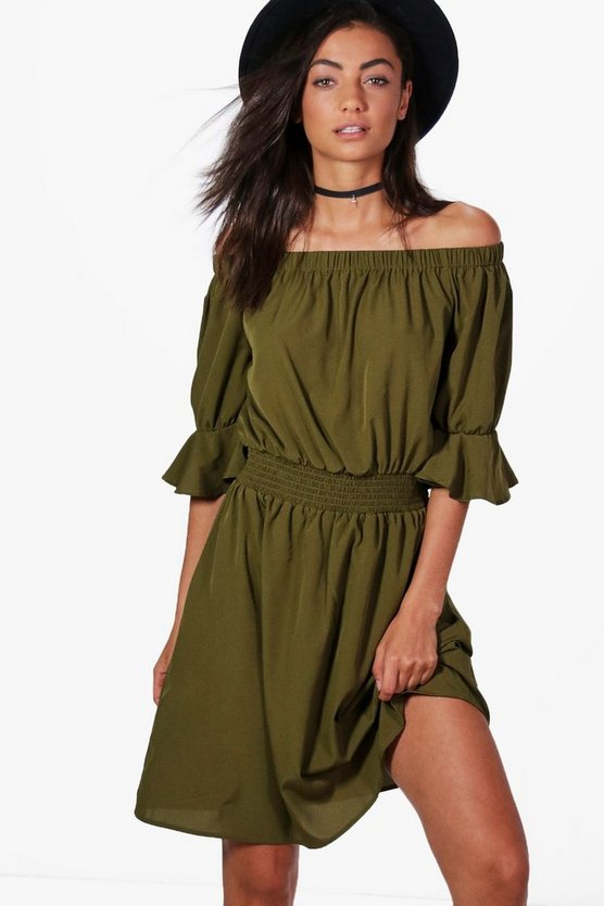 Tall Martha Off Shoulder Skater Dress