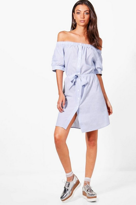 Tall Off Shoulder Tie Front Dress