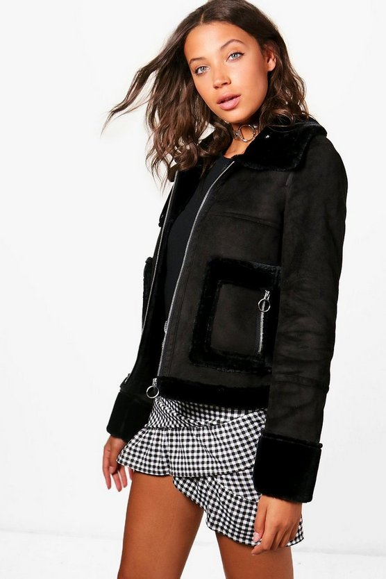 Tall Ria Raw Edge Aviator Jacket