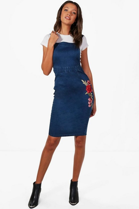Tall Lily Applique Denim Dress