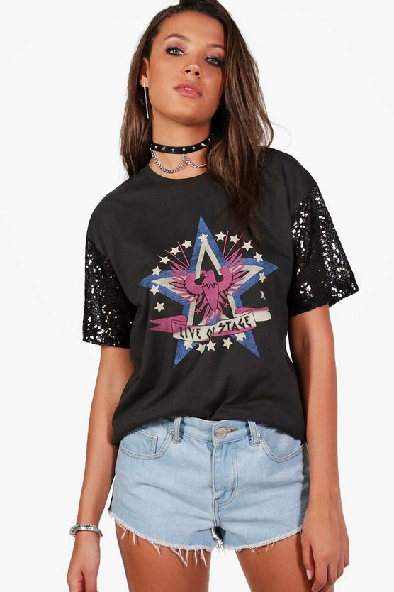 Tall Zarita Oversized Sequin Sleeve T-Shirt