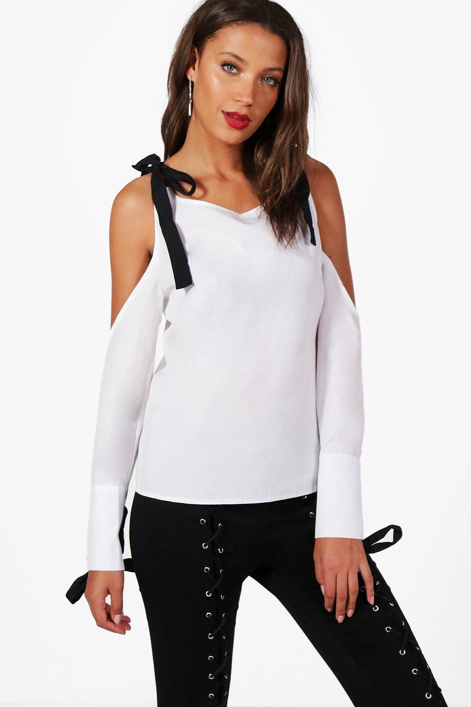 Womens Tall Avril Oberteil mit ausgeschnittenen Schultern und geschnürten Bündchen - Weiß - 40, Weiß - Boohoo.com