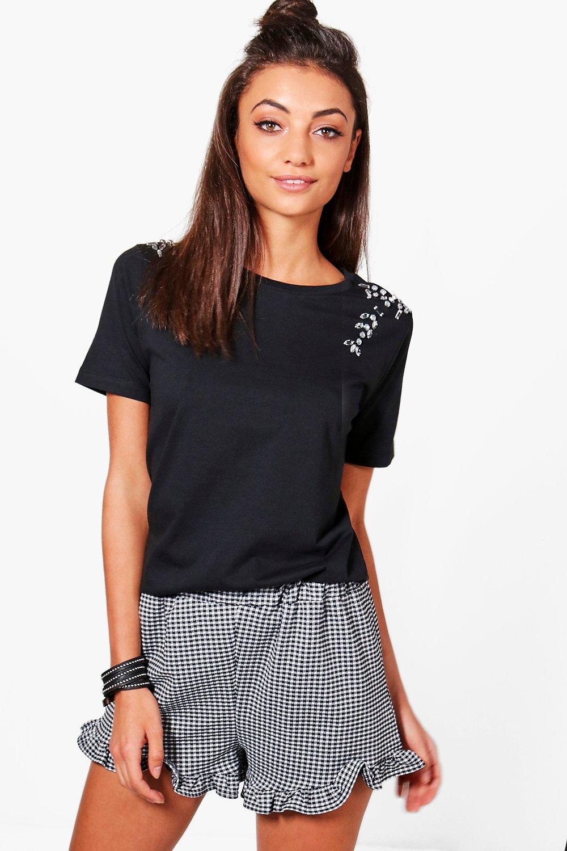 Leah Embellished T-Shirt - black