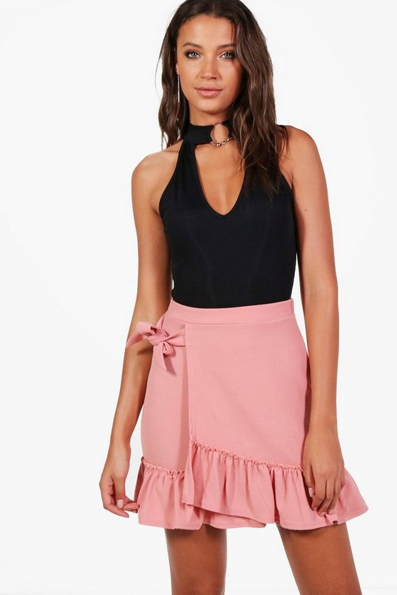 Tall Willow Frill Hem Wrap Tie Skirt